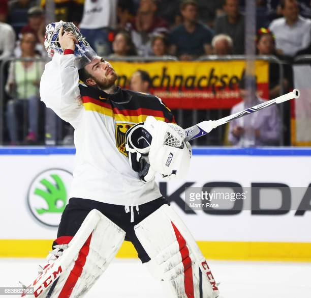 Philipp Grubauer of Germany prepares himself for goalkeeping during the Germany v Latvia match of the 2017 IIHF Ice Hockey World Championships at...