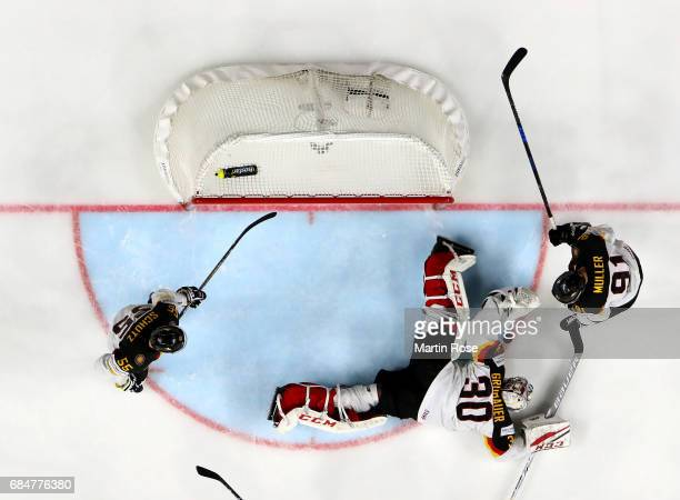 Philipp Grubauer of Germany saves an attempt at goal during the 2017 IIHF Ice Hockey World Championship quarter final game between Canada and Germany...