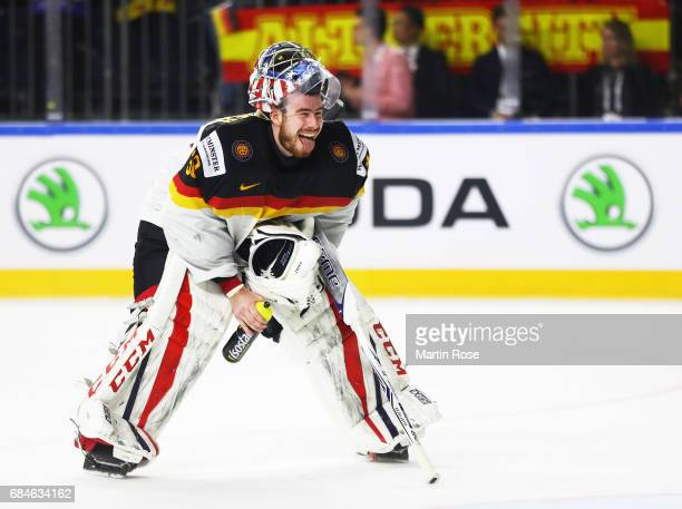 Philipp Grubauer of Germany smiles during the 2017 IIHF Ice Hockey World Championship Quarter Final game between Canada and Germany at Lanxess Arena...