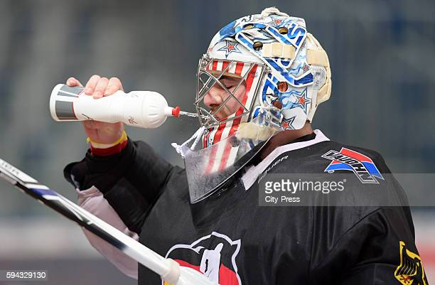Philipp Grubauer of Team Germany drinks water during the training on august 22 2016 in Mannheim Germany