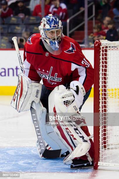Philipp Grubauer of the Washington Capitals in action in the second period against the Florida Panthers at Capital One Arena on October 21 2017 in...