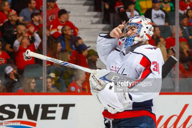 Philipp Grubauer of the Washington Capitals in an NHL game against the Washington Capitals at the Scotiabank Saddledome on October 29 2017 in Calgary...