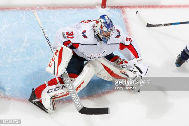 Philipp Grubauer of the Washington Capitals in an NHL game against the Calgary Flames at the Scotiabank Saddledome on October 29 2017 in Calgary...