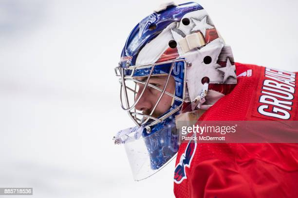 Philipp Grubauer of the Washington Capitals looks on during the pregame skate prior to a game against the San Jose Sharks at Capital One Arena on...
