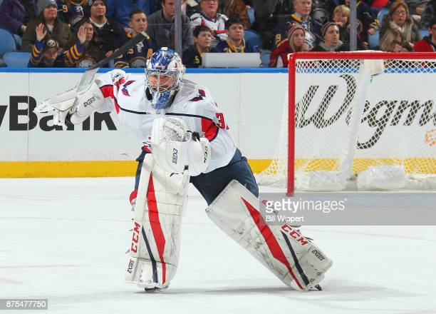 Philipp Grubauer of the Washington Capitals skates to the bench against the Buffalo Sabres during an NHL game on November 7 2017 at KeyBank Center in...