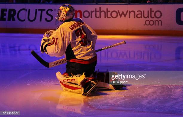 Philipp Grubauer of the Washington Capitals stretches prior to an NHL game against the Buffalo Sabres on November 7 2017 at KeyBank Center in Buffalo...