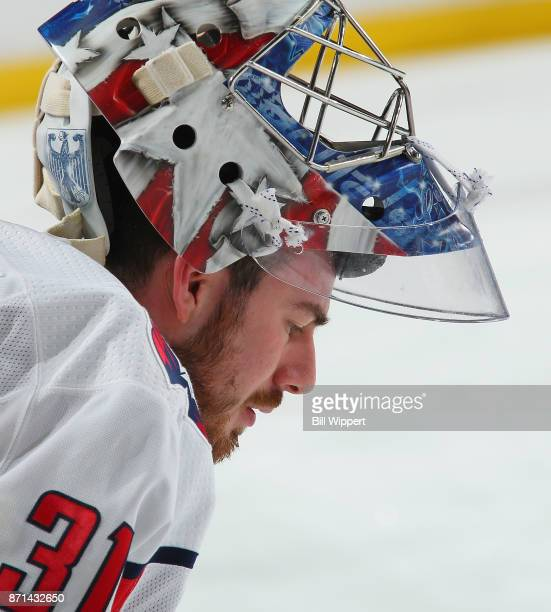 Philipp Grubauer of the Washington Capitals warms up before an NHL game against the Buffalo Sabres on November 7 2017 at KeyBank Center in Buffalo...
