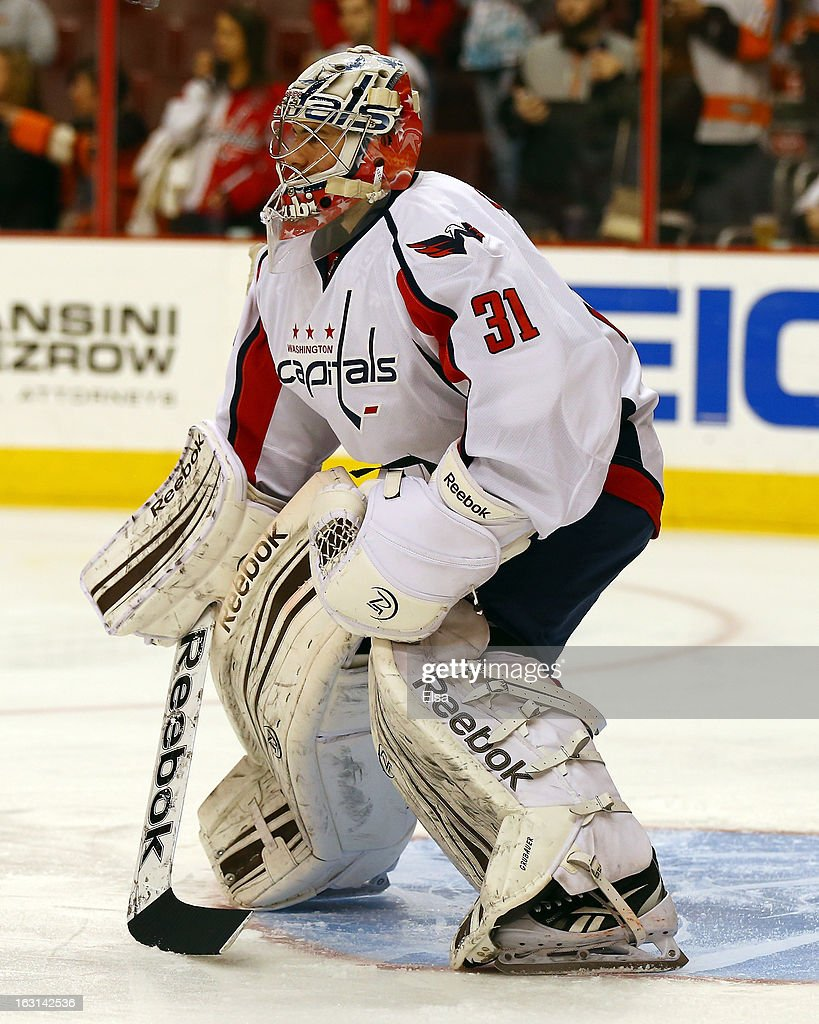 Philipp Grubauer #31 of the Washington Capitals warms up before the game against the Philadelphia Flyers on February 27, 2013 at the Wells Fargo Center in Philadelphia, Pennsylvania.
