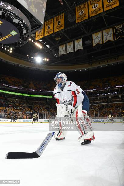 Philipp Grubauer of the Washington Capitals warms up before the game against the Boston Bruins at the TD Garden on November 4 2017 in Boston...