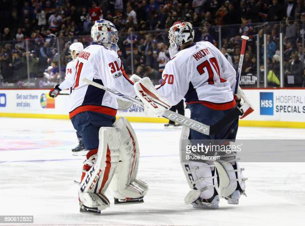 Philipp Grubauer replaced Braden Holtby of the Washington Capitals in the nets during the second period against the New York Islanders at the...