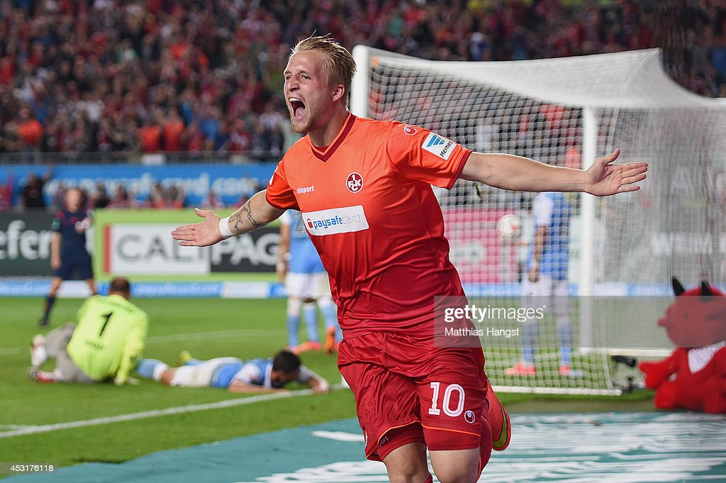 Philipp Hofmann of Kaiserslautern celebrates after scoring his team's third goal during during the Second Bundesliga match between 1 FC...