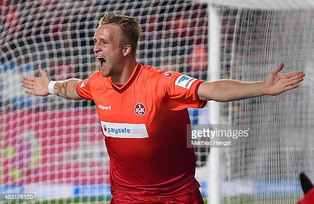 Philipp Hofmann of Kaiserslautern celebrates after scoring his team's third goal during during the Second Bundesliga match between 1 FC...