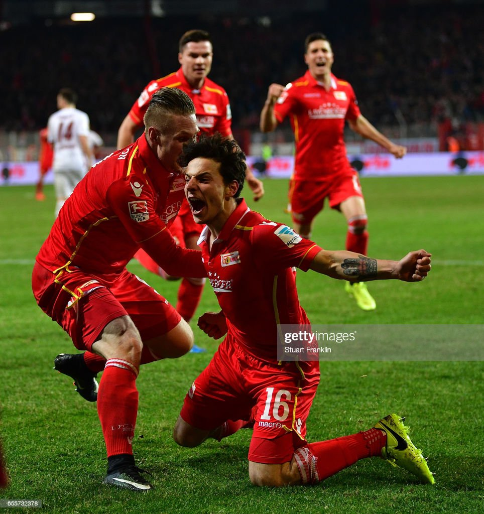 Philipp Hosiner of Berlin celebrates scoring his goal during the Second Bundesliga match between 1. FC Union Berlin and 1. FC Nuernberg at Stadion An der Alten Foersterei on March 20, 2017 in Berlin, Germany.