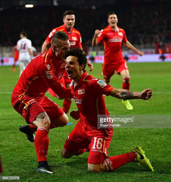 Philipp Hosiner of Berlin celebrates scoring his goal during the Second Bundesliga match between 1 FC Union Berlin and 1 FC Nuernberg at Stadion An...