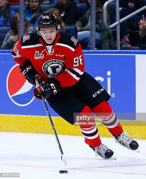 Philipp Karashev of the Quebec Remparts skates against the Baie Comeau Drakkar during their QMJHL hockey game at the Centre Videotron on October 14...