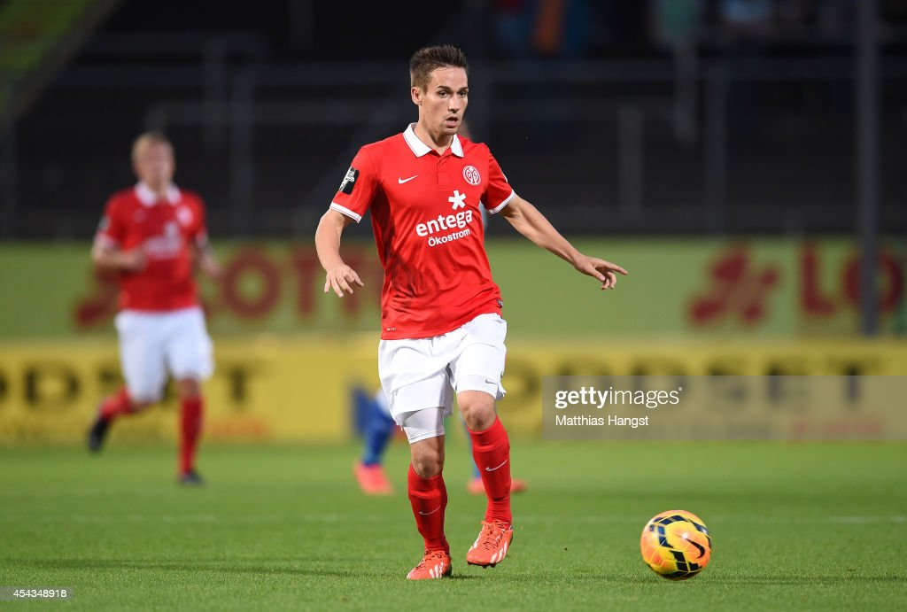 Philipp Klement of Mainz controls the ball during the Third league match between 1. FSV Mainz 05 II and Hansa Rostock at Bruchweg Stadium on August 29, 2014 in Mainz, Germany.