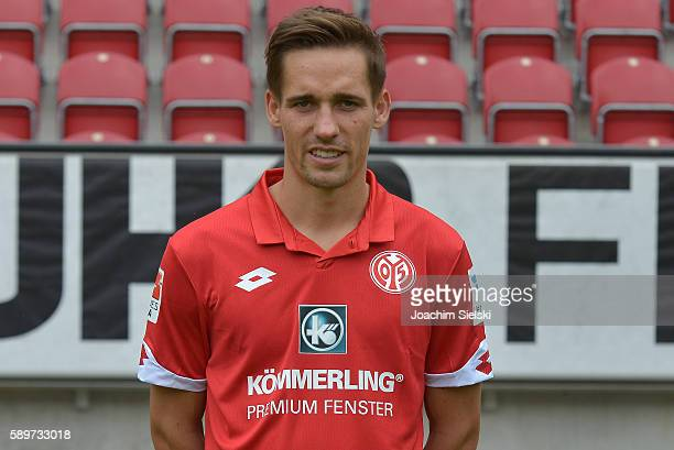 Philipp Klement poses during the official team presentation of 1 FSV Mainz 05 at Opel Arena on July 25 2016 in Mainz Germany