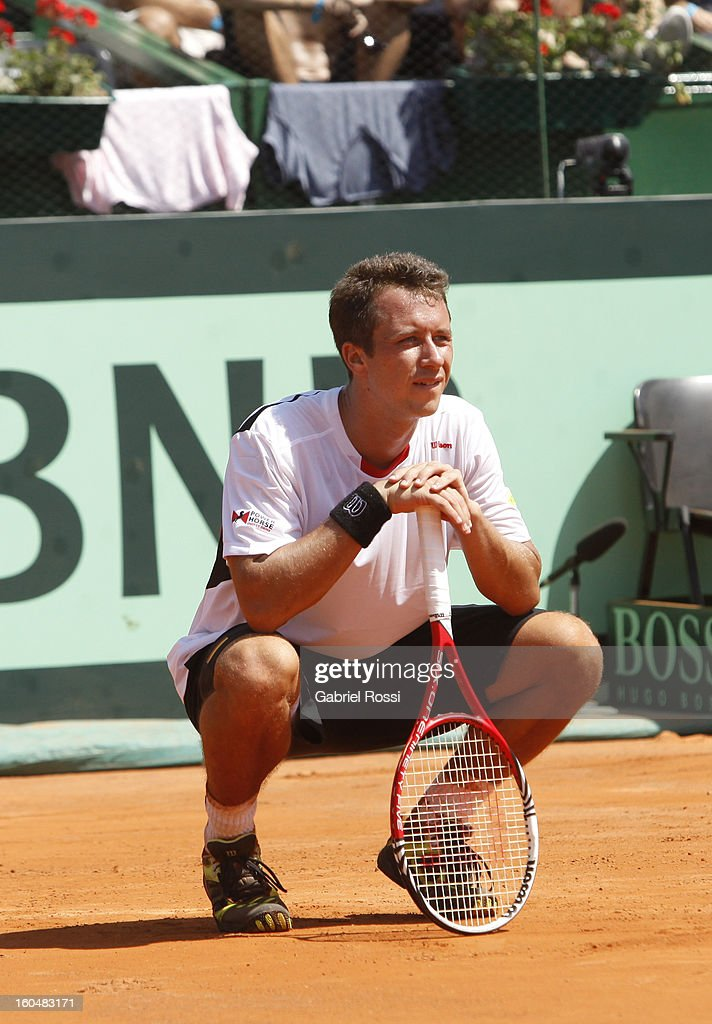 <a gi-track='captionPersonalityLinkClicked' href=/galleries/search?phrase=Philipp+Kohlschreiber&family=editorial&specificpeople=225202 ng-click='$event.stopPropagation()'>Philipp Kohlschreiber</a> gestures during the match against Carlos Berlocq in the first round of Davis Cup at Parque Roca Stadium on February 01, 2013, Buenos Aires, Argentina.