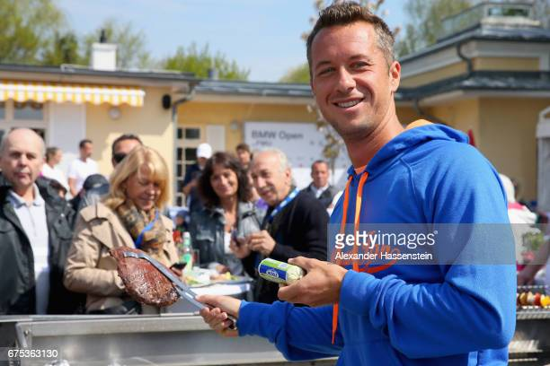 Philipp Kohlschreiber of Germany attends a Meggle Barbecue during for the 102 BMW Open by FWU at Iphitos tennis club on May 1 2017 in Munich Germany