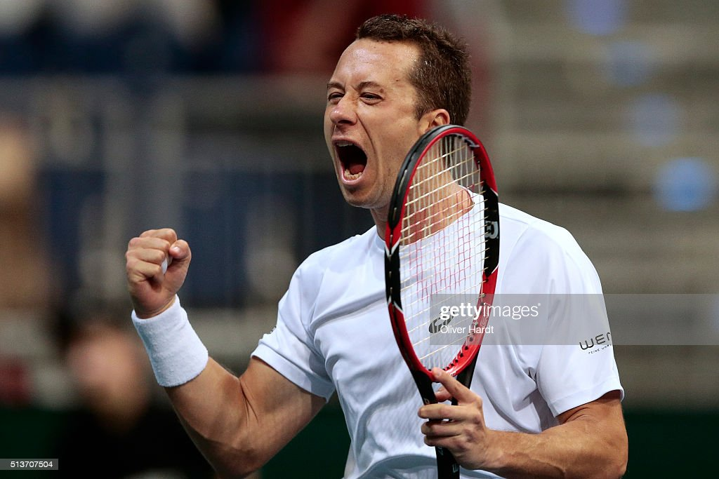 Philipp Kohlschreiber of Germany celebrate after in his match against Lukas Rosol of Czech Republic during Day 1 of the Davis Cup World Group first...