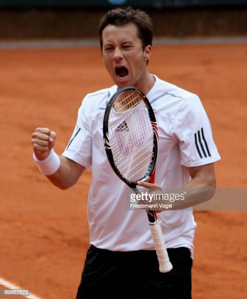 Philipp Kohlschreiber of Germany celebrates after winning his match against Horacio Zeballos of Argentina during day three of the ARAG World Team Cup...
