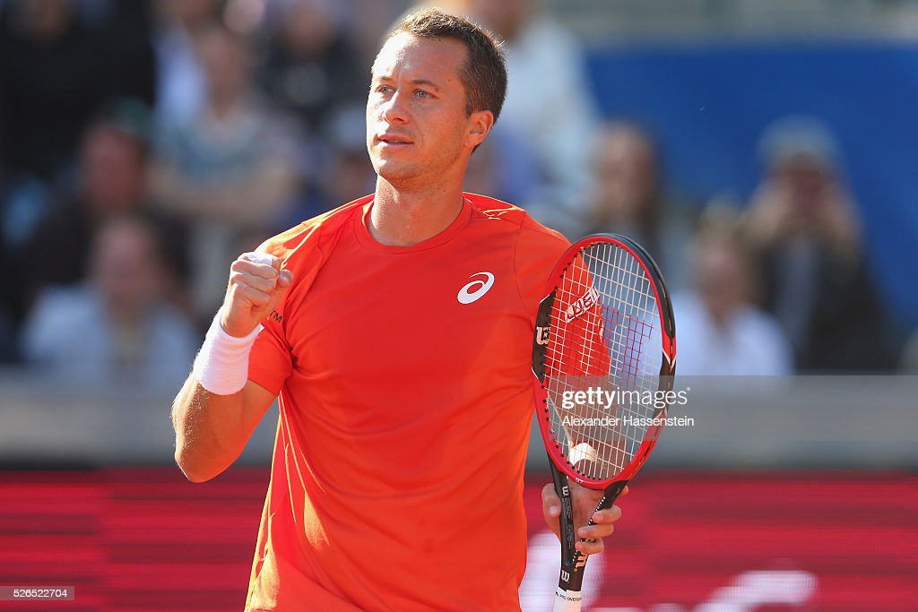 Philipp Kohlschreiber of Germany celebrates during his semi finale match against Fabio Fognini of Itlay of the BMW Open at Iphitos tennis club on April 30, 2016 in Munich, Germany.