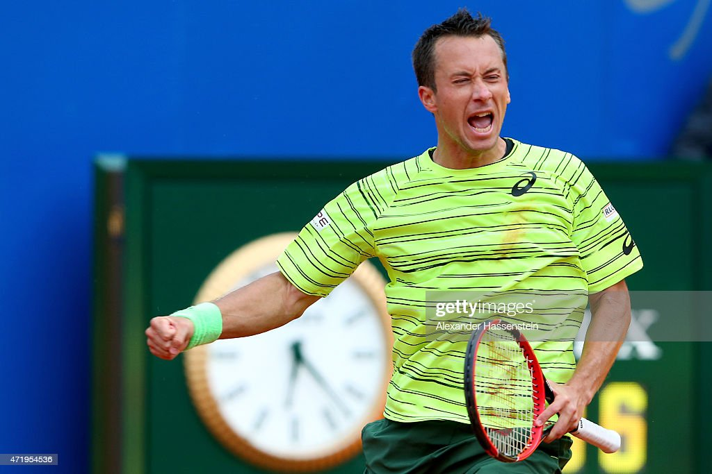 Philipp Kohlschreiber of Germany celebrates victory after winning his semi finale match against Gerald melzer of Austria during the BMW Open at Iphitos tennis club on May 2, 2015 in Munich, Germany.
