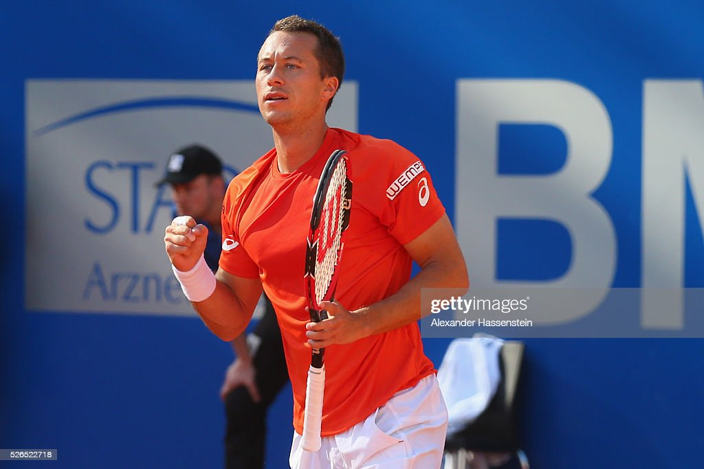 Philipp Kohlschreiber of Germany celebrates winning his semi finale match against Fabio Fognini of Itlay of the BMW Open at Iphitos tennis club on April 30, 2016 in Munich, Germany.