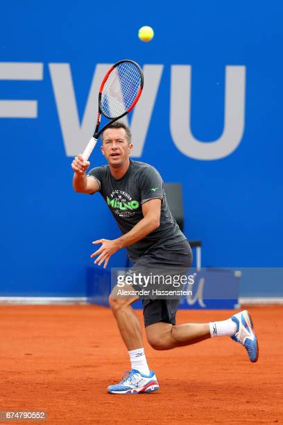 Philipp Kohlschreiber of Germany during a training session for the 102 BMW Open by FWU at Iphitos tennis club on April 29 2017 in Munich Germany