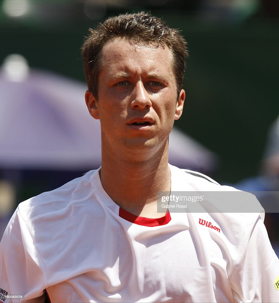 Philipp Kohlschreiber of Germany gestures during the first match of the series between Argentina and Germany in the first round of Davis Cup at Parque Roca Stadium on February 01, 2013, Buenos Aires, Argentina.