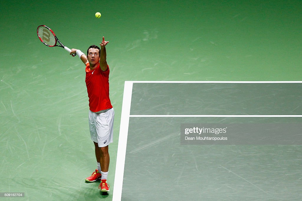 <a gi-track='captionPersonalityLinkClicked' href=/galleries/search?phrase=Philipp+Kohlschreiber&family=editorial&specificpeople=225202 ng-click='$event.stopPropagation()'>Philipp Kohlschreiber</a> of Germany in action action against Julien Benneteau of France during day 2 of the ABN AMRO World Tennis Tournament held at Ahoy Rotterdam on February 9, 2016 in Rotterdam, Netherlands.