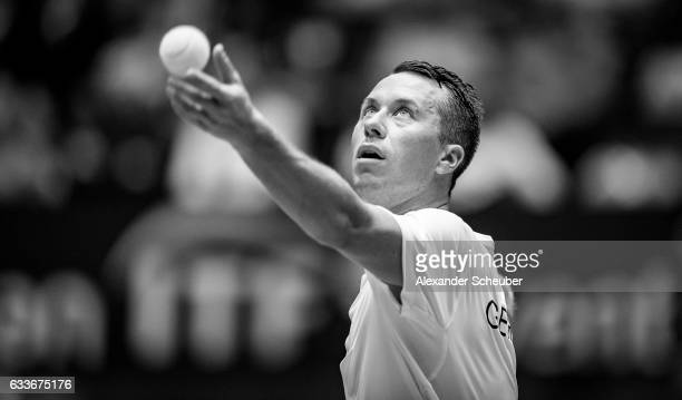 Philipp Kohlschreiber of Germany in action against Steve Darcis of Belgium during day one of the Davis Cup World Group first round between Germany...