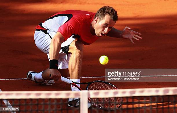 Philipp Kohlschreiber of Germany plays a back hand during his quarterfinal match against Radek Stepanek of Czech Republic at BMW Open at the Iphitos...