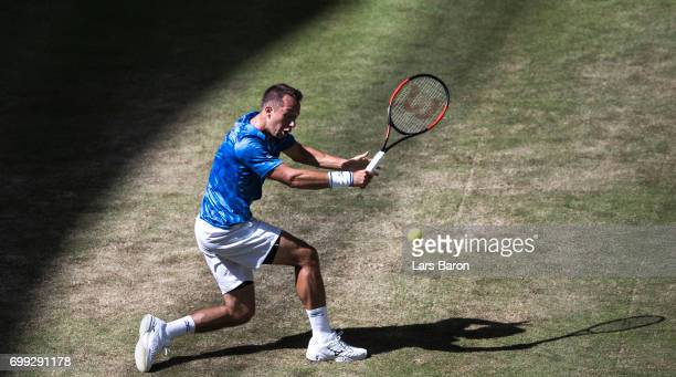 Philipp Kohlschreiber of Germany plays a backhand during his match against Alexander Zverev of Germany during Day 5 of the Gerry Weber Open 2017 at...