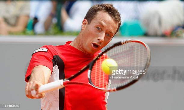 Philipp Kohlschreiber of Germany plays a backhand during the final match between Philipp Kohlschreiber of Germany and Juan Ignacia Chela of Argentina...