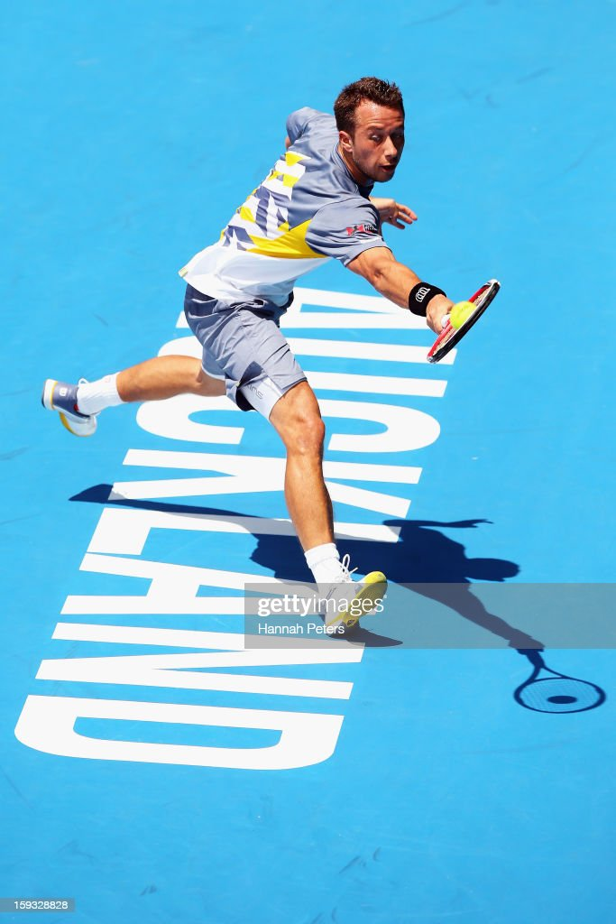 Philipp Kohlschreiber of Germany plays a backhand during the final agsinst David Ferrer of Spain during day six of the Heineken Open at ASB Tennis Centre on January 12, 2013 in Auckland, New Zealand.