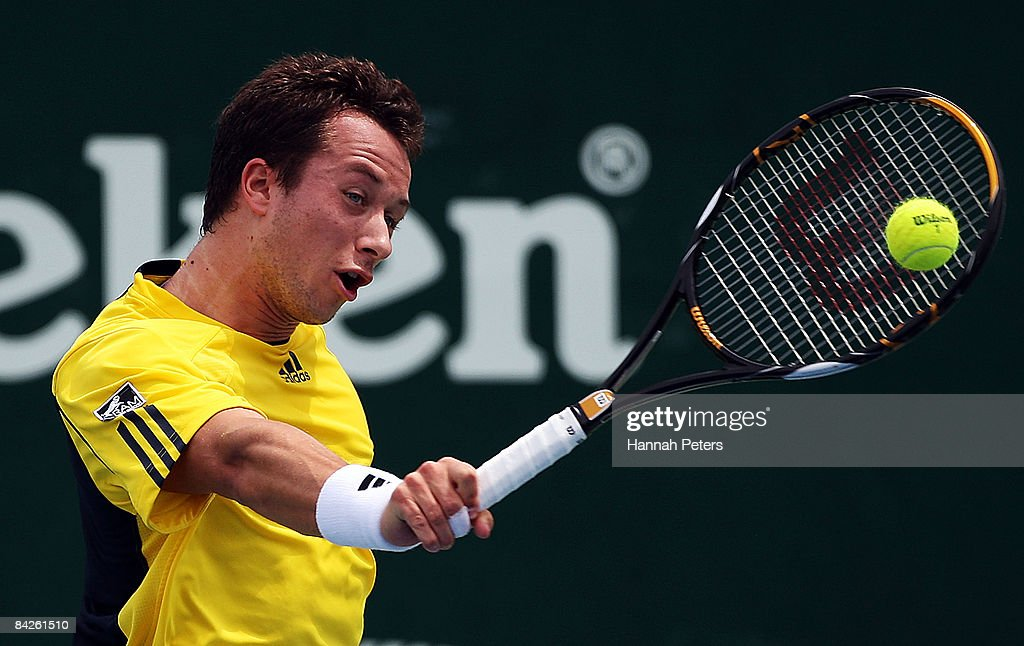 Philipp Kohlschreiber of Germany plays a backhand in his match against Dominik Hrbaty of Slovakia during day two of the Heineken Open at ASB Tennis Centre on January 13, 2009 in Auckland, New Zealand.