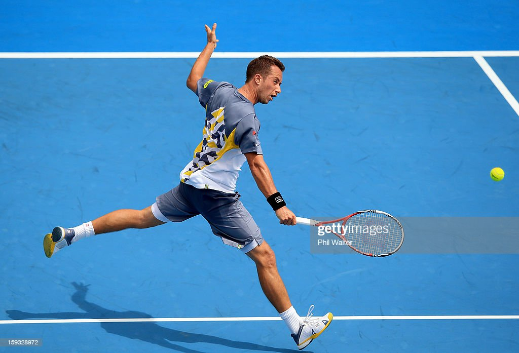Philipp Kohlschreiber of Germany plays a backhand in his singles final against David Ferrer of Spain during day six of the Heineken Cup at ASB Tennis Centre on January 12, 2013 in Auckland, New Zealand.