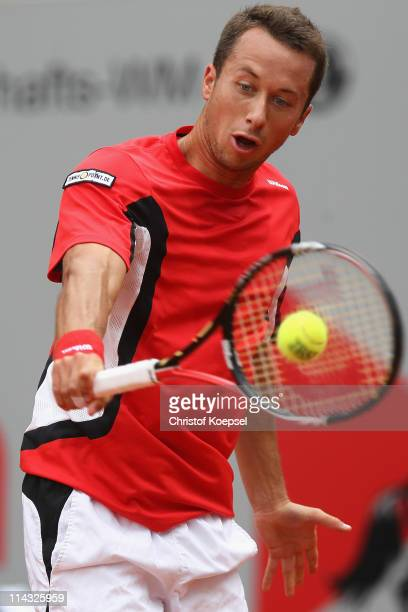 Philipp Kohlschreiber of Germany plays a backhand in the blue group during the match between Philipp Kohlschreiber of Germany and Daniel GimenoTraver...