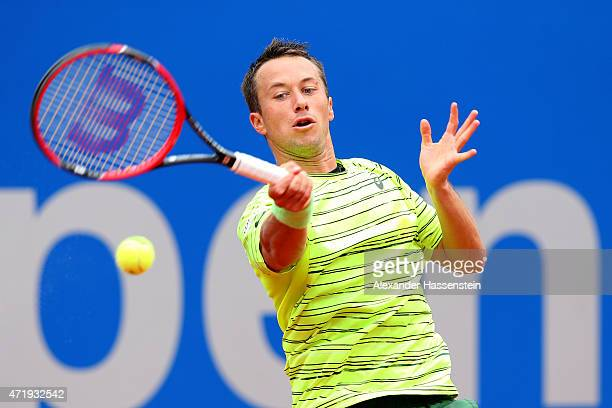 Philipp Kohlschreiber of Germany plays a fore hand during his quarter final match against David Goffin of Belgium at day 8 of the BMW Open at Iphitos...
