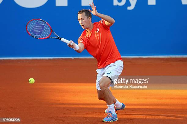 Philipp Kohlschreiber of Germany plays a fore hand during his quater final match against Juan Martin Del Porto of Argentina of the BMW Open at...