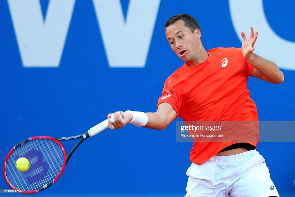<a gi-track='captionPersonalityLinkClicked' href=/galleries/search?phrase=Philipp+Kohlschreiber&family=editorial&specificpeople=225202 ng-click='$event.stopPropagation()'>Philipp Kohlschreiber</a> of Germany plays a fore hand during his quater final match against Juan Martin Del Porto of Argentina of the BMW Open at Iphitos tennis club on April 29, 2016 in Munich, Germany.