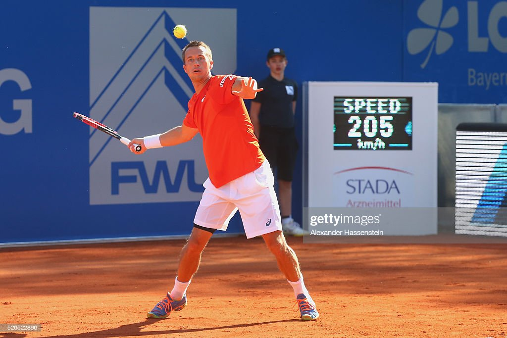 Philipp Kohlschreiber of Germany plays a fore hand during his semi finale match against Fabio Fognini of Itlay of the BMW Open at Iphitos tennis club on April 30, 2016 in Munich, Germany.