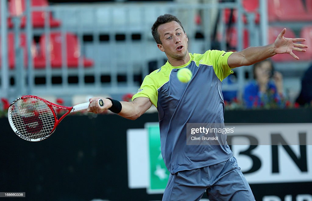 Philipp Kohlschreiber of Germany plays a forehand against Milos Raonic of Canada in their first round match during day two of the Internazionali BNL d'Italia 2013 at the Foro Italico Tennis Centre on May 13, 2013 in Rome, Italy.