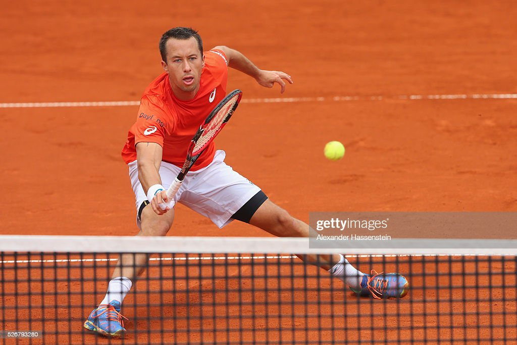 Philipp Kohlschreiber of Germany plays a forehand during his finale match against Dominic Thiem of Austria of the BMW Open at Iphitos tennis club on May 1, 2016 in Munich, Germany.