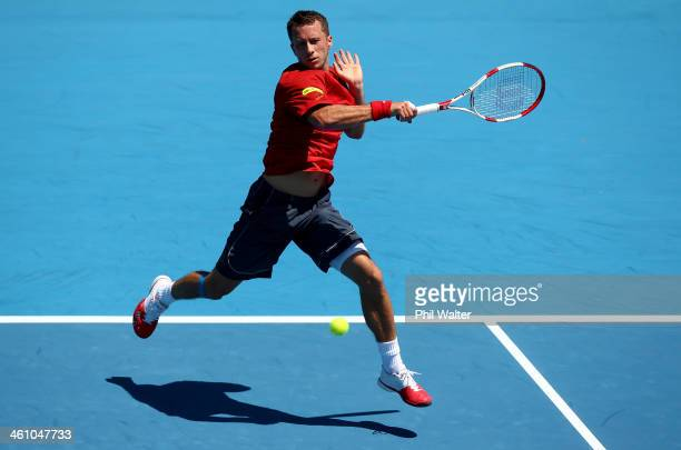 Philipp Kohlschreiber of Germany plays a forehand during his first round match against Pablo Carreno Busta of Spain during day two of the Heineken...