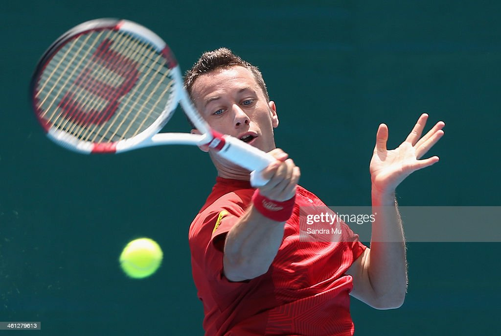 Philipp Kohlschreiber of Germany plays a forehand during his match against Horacio Zeballos of Argentina on day three of the Heineken Open at ASB Tennis Centre on January 8, 2014 in Auckland, New Zealand.