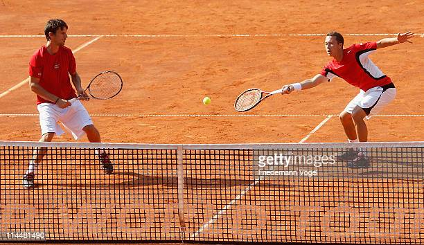 Philipp Kohlschreiber of Germany plays a forehand during the final doubles match between Philipp Kohlschreiber with Philipp Petzschner of Germany and...