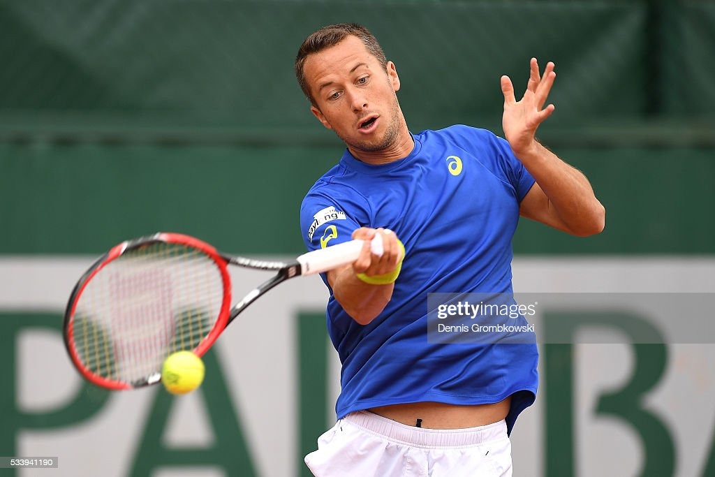 Philipp Kohlschreiber of Germany plays a forehand during the Men's Singles first round match against Nicolas Almagro of Spain on day three of the 2016 French Open at Roland Garros on May 24, 2016 in Paris, France.