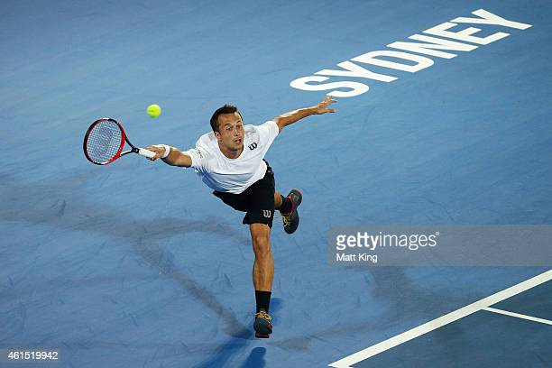 Philipp Kohlschreiber of Germany plays a forehand in his match against Bernard Tomic of Australia during day four of the 2015 Sydney International at...